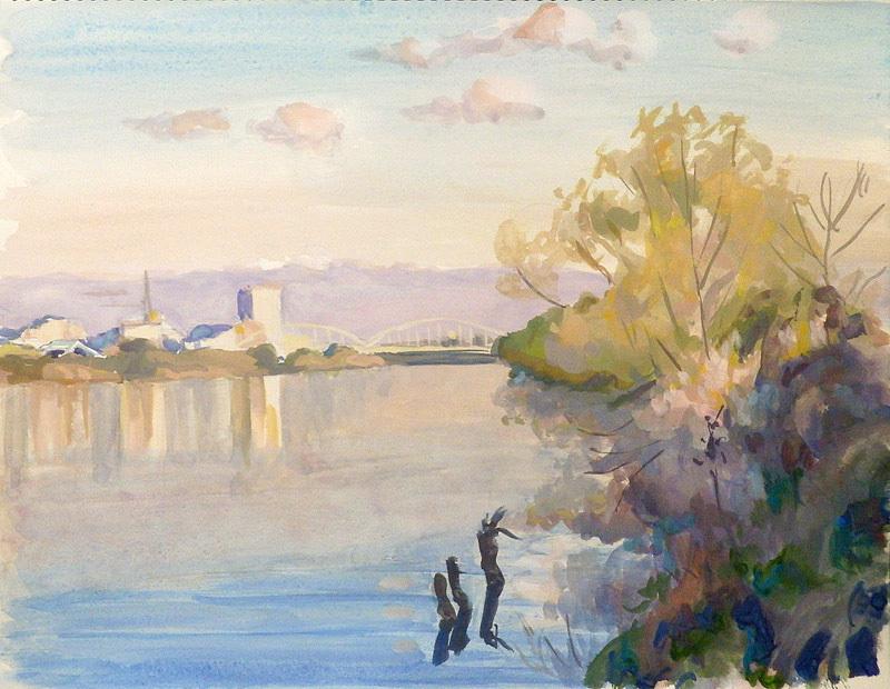 冬晴れの多摩川