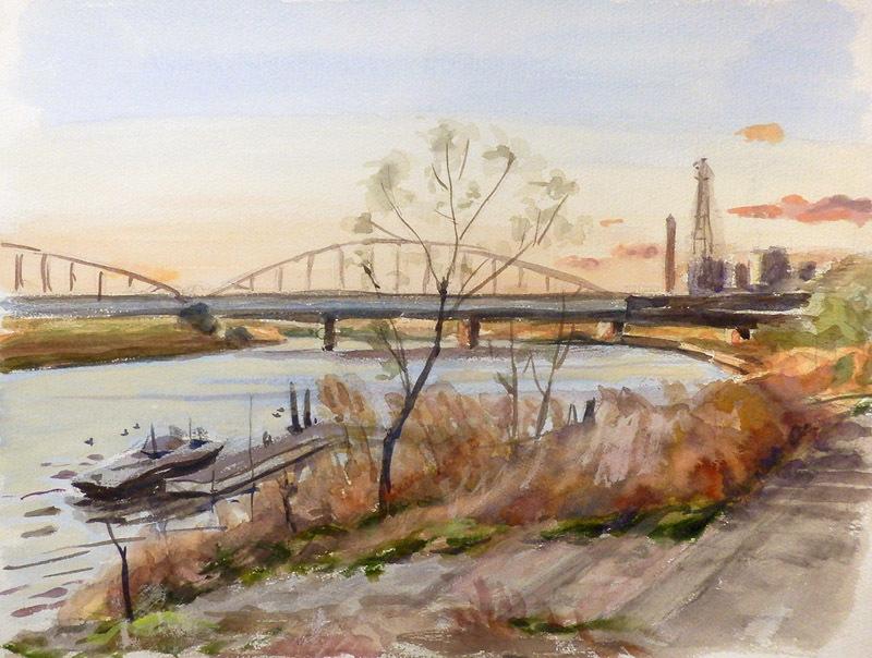 枝越しの多摩川大橋-3