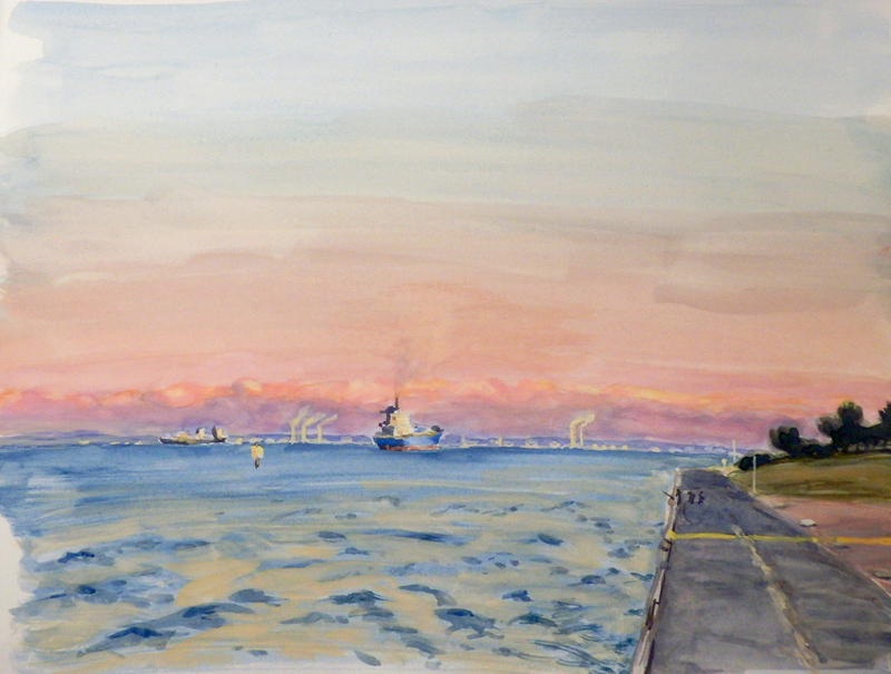 東京湾の出船
