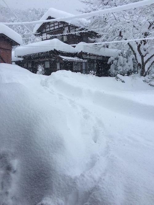駐車場から玄関までの雪