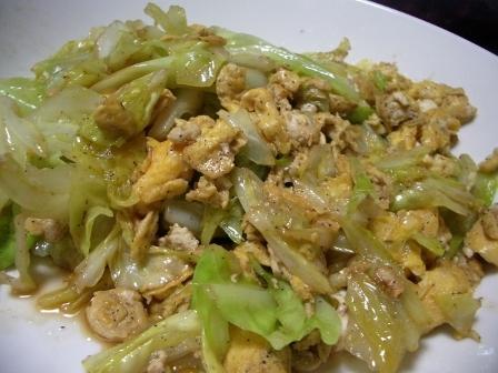 卵とキャベツの中華炒め