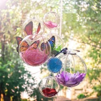 10ピース透明プラスチッククラフトクリスマスギフトボックスクリスマスツリーの装飾飾りボール型ボックス透明なプラスチックボール4センチ