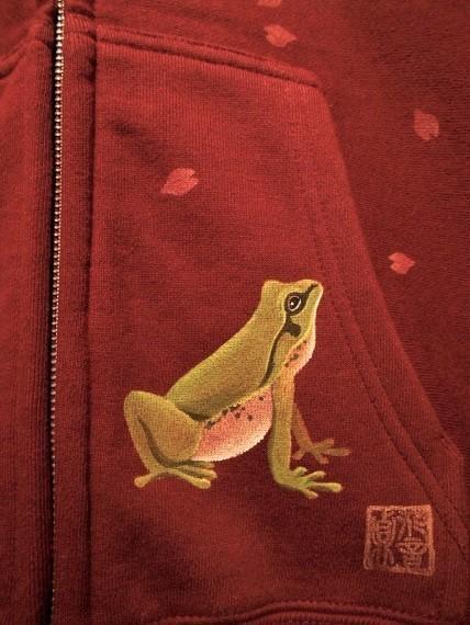 手描きジップパーカー カエルと桜