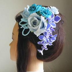 スカイブルーローズと紫陽花の浴衣髪飾り