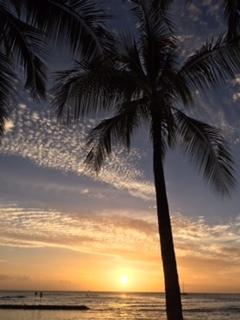 sun set in Waikiki