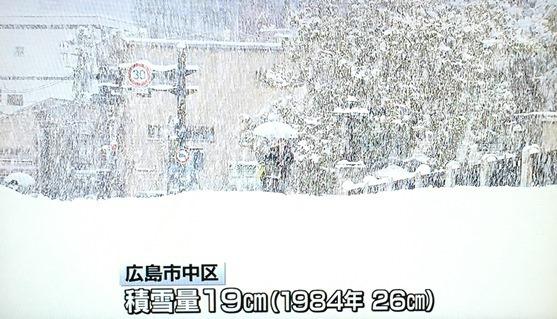 広島市 積雪19センチ