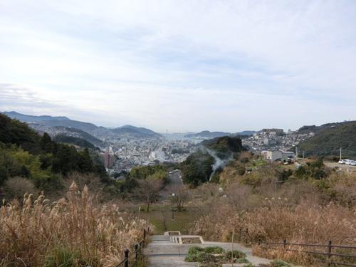 片渕公園からの眺め。 女神大橋が見えます。