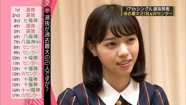 乃木坂46 17thシングル選抜発表 西野七瀬