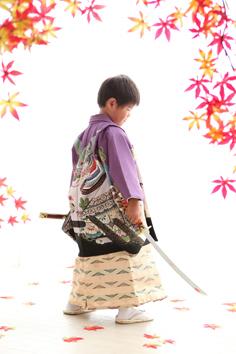 はるきくん七五三和装着物自然光伊勢崎写真館
