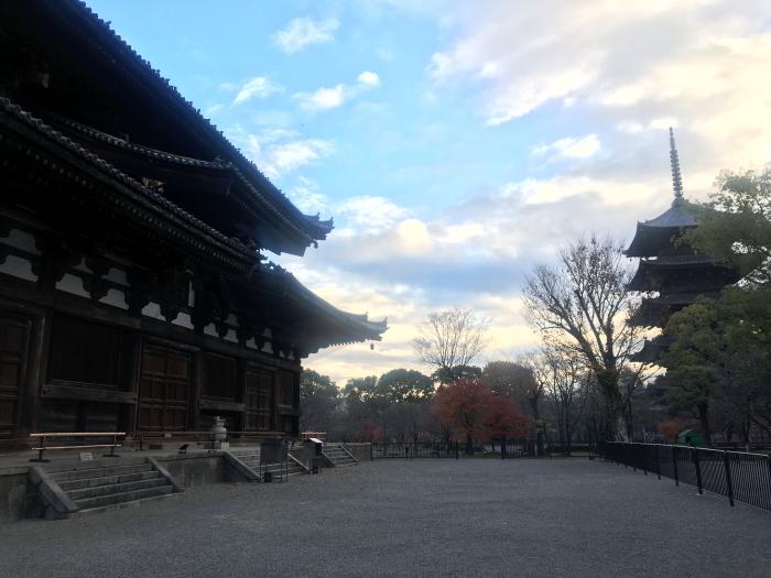 早朝の東寺