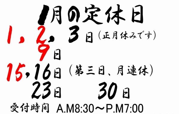2017 定休日一月 ≪ 定型紙(A4) ≫