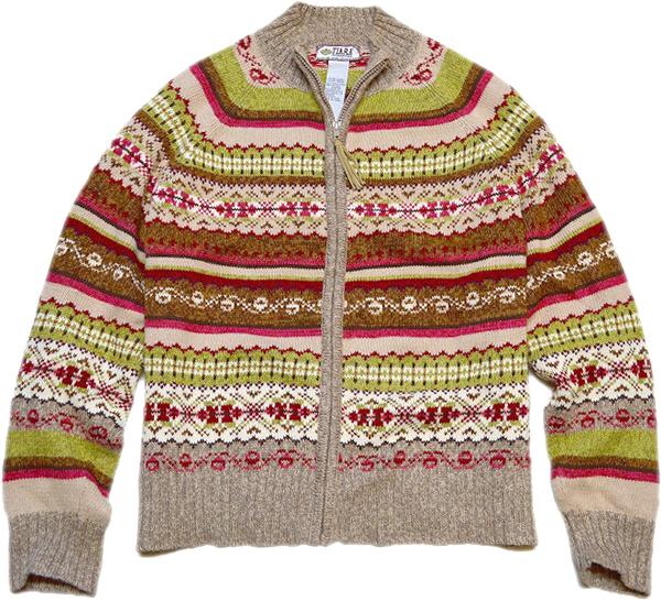 柄物ニットセーター画像コーデ2017冬@古着屋カチカチ01