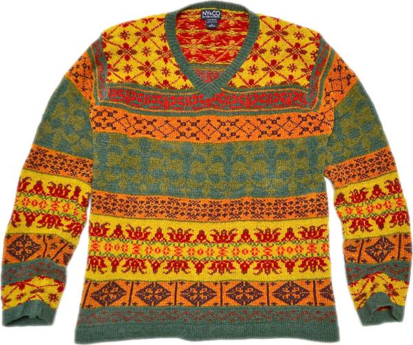 柄物ニットセーター画像コーデ2017冬@古着屋カチカチ05