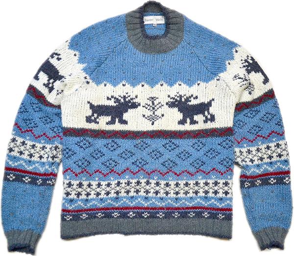 柄物ニットセーター画像コーデ2017冬@古着屋カチカチ06
