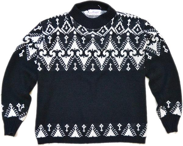 柄物ニットセーター画像コーデ2017冬@古着屋カチカチ014