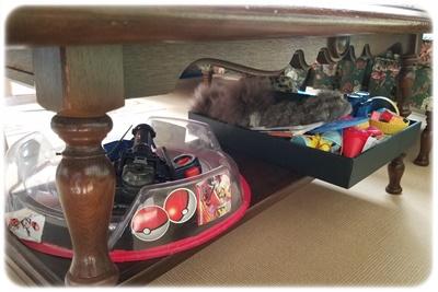 サイドテーブルの下