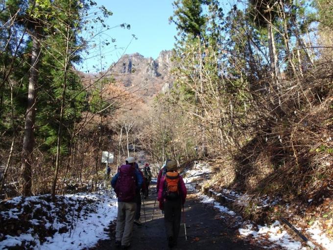 雪の残る林道を