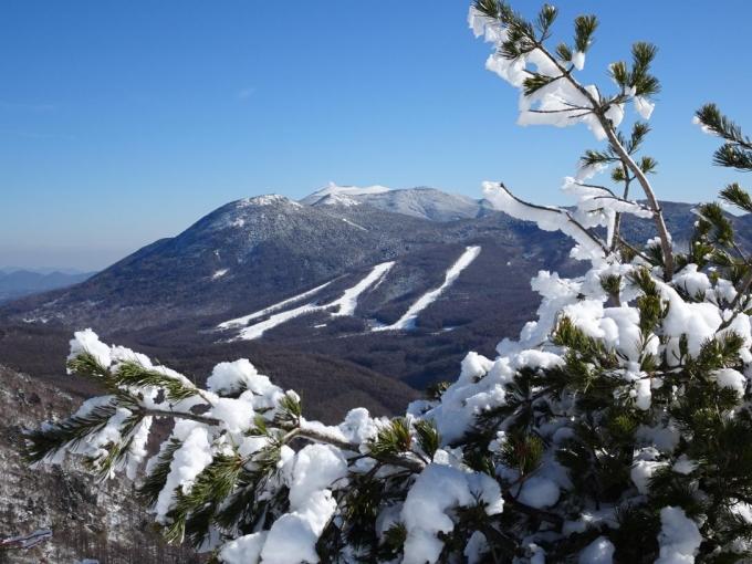 湯の丸スキー場と浅間山