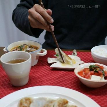 海鮮チゲスープとレタス入り餃子2