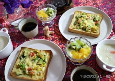 オープントーストと甘酒スープ2
