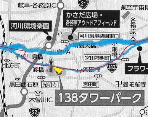岐阜県 川島 地図 県界