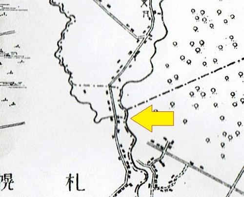 明治29年地形図 レツレップ古川 分流?地点 拡大