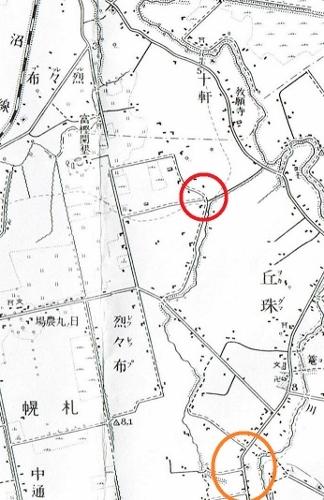 昭和10年地形図 レツレップ古川 河道