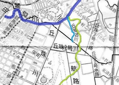 河川網図 丘珠古川