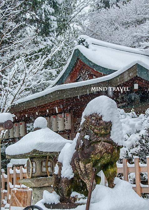 熊野若王子神社 狛犬 雪