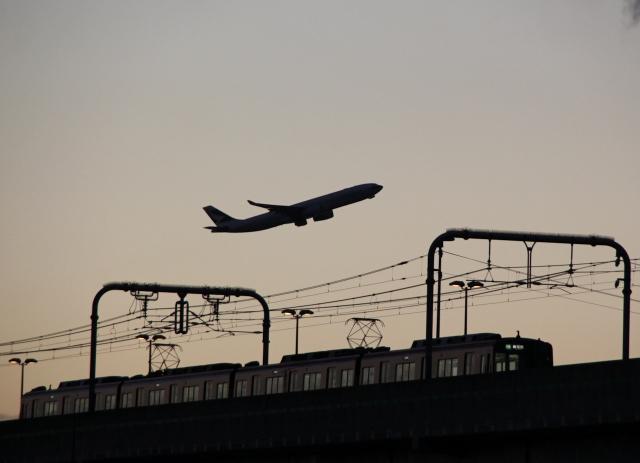 B20161217B_飛行機と夕日_IMG_0826