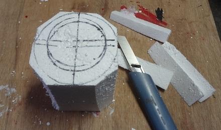 6の2円柱に粗く切り落とす