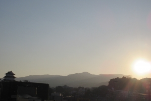 小田原城と夕日