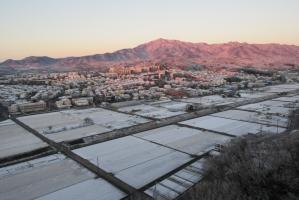 2月11日の雪の大山と田んぼ