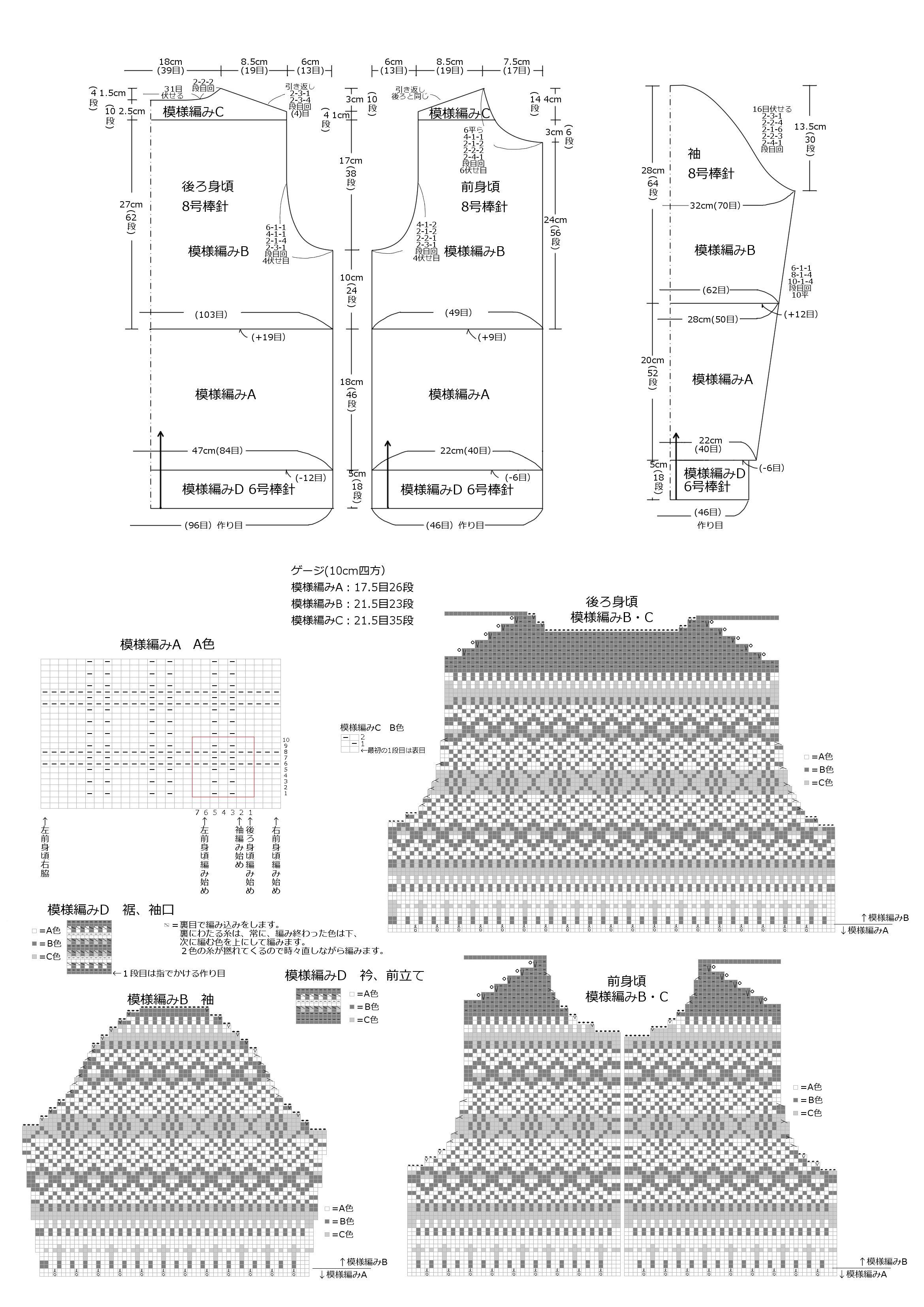 tricoカーデ製図(1)
