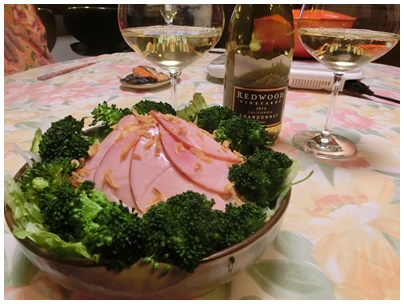 ミルフィーユ鍋とワインとサラダ