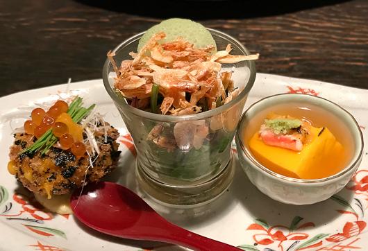 雲丹のクリームコロッケ・桜えびのサラダ・雲丹豆腐