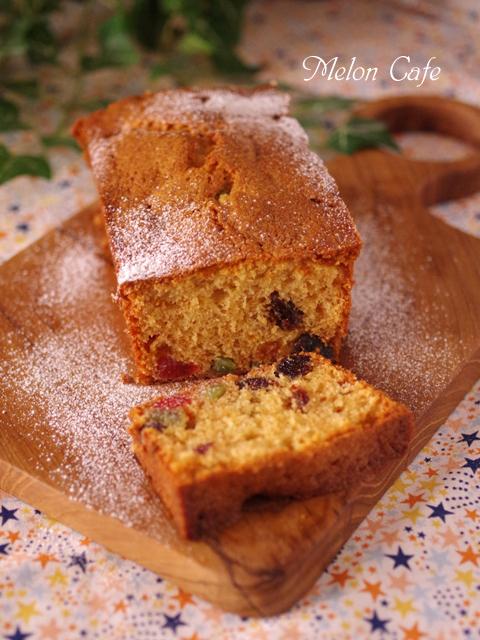 ホットケーキミックスのクリスマスパウンドケーキ