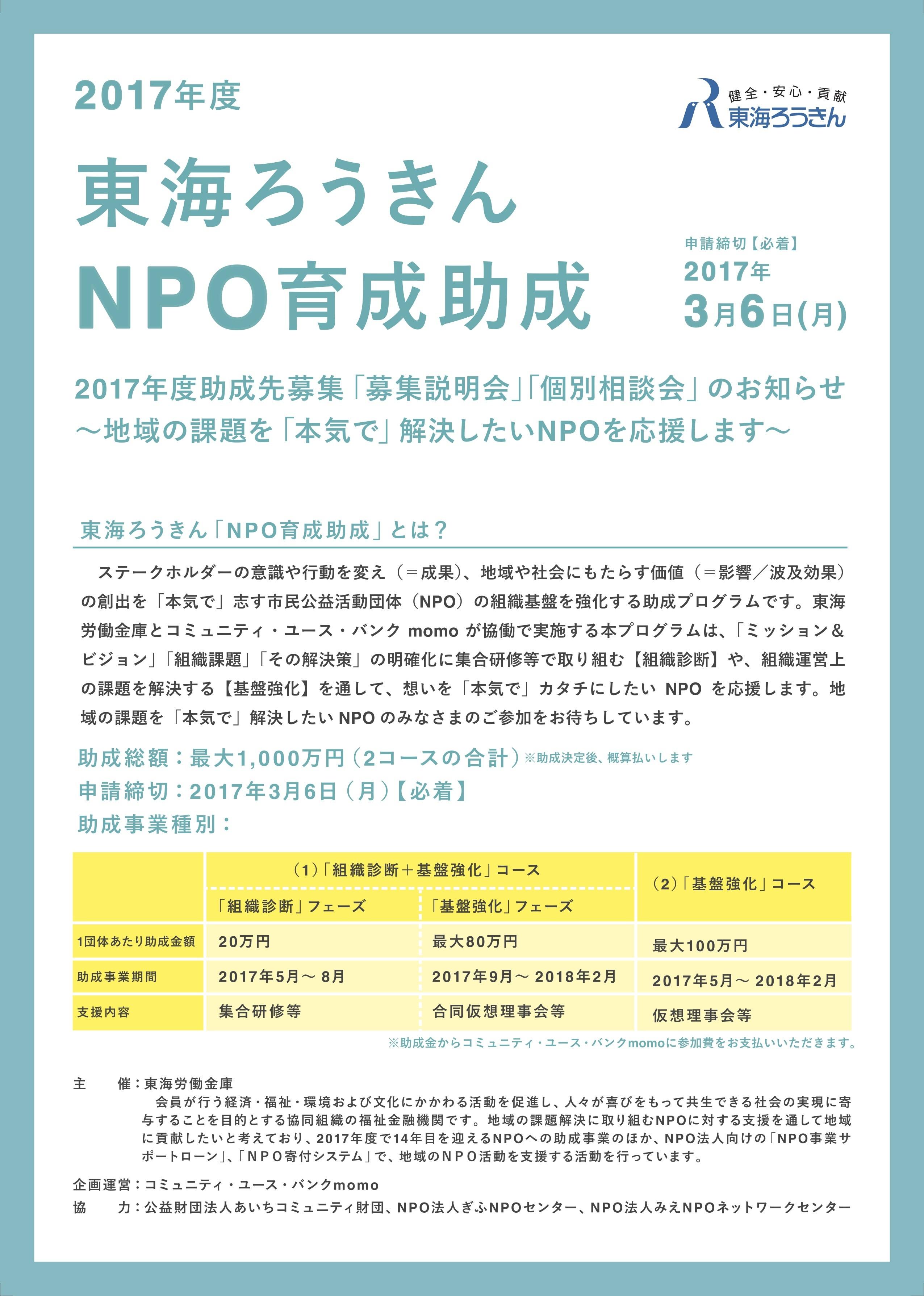 NPO支援助成2017:チラシ表