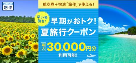 ANAは、夏の旅行に使えるクーポンを提供、クーポンコードを入力するだけで3万円引!