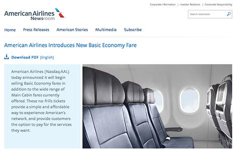 アメリカン航空は、よりお得なベーシックエコノミー導入を発表!