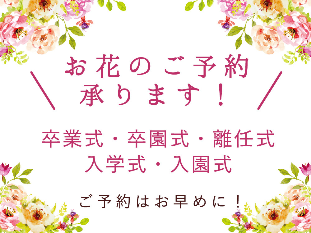 卒業式・卒園式・離任式・入学式・入園式のお花のご予約について