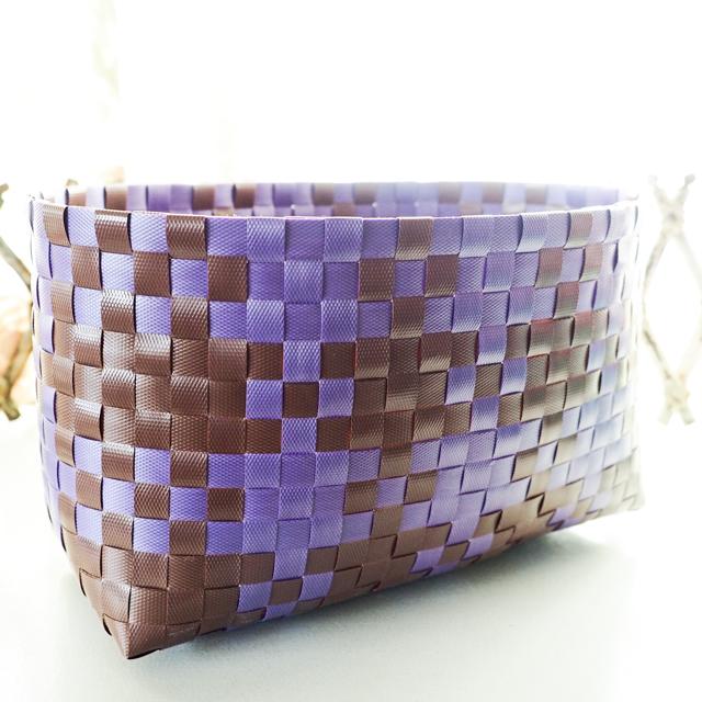 ベトナムのプラかご、茶色と紫色