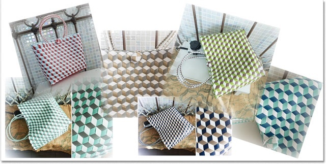 3Dひし形斜め編みのプラかご