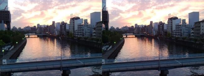 大阪ビジネスパーク夕景③(交差法)