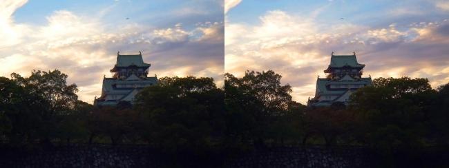 大阪城夕景(交差法)
