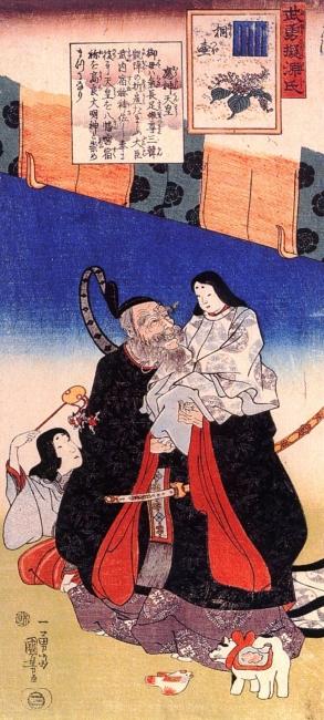 武内宿禰と応神天皇(歌川国芳画)