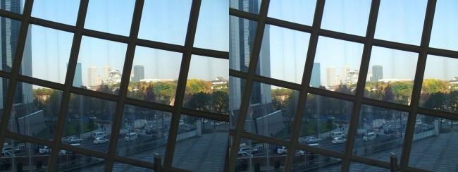 NHK大阪放送局からの大阪城(平行法)