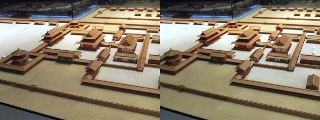 前期・難波宮 飛鳥時代中頃 再現模型(平行法)