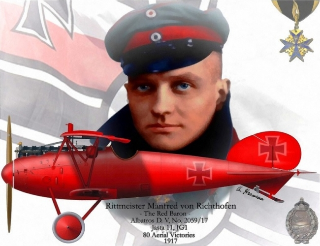 ドイツの撃墜王フォン・リヒトホーフェンの異名レッドバロン(赤い男爵)