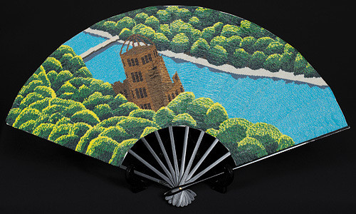 ビーズアーティスト金谷美帆「飾り扇子 原爆ドーム」